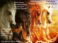 THE FOUR HORSEMEN OF REVELATION- The White Horse whose rider is Antichrist (Revelation 6:1-2), counterfeits the return of Christ and produces a fraudulent peace pact (Revelation 19:11)