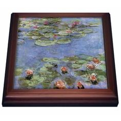 3dRose Water Lilies Vintage Monet, Trivet with Ceramic Tile, 8 by 8-inch