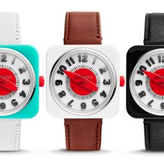 From left to right: Retro Timer in turquoise/white, white/brown and black/black