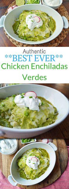Authentic BEST EVER Chicken Enchiladas Verdes (green chicken enchiladas) are made from scratch from the freshest ingredients.