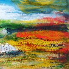Wild fire in the bog, encaustic painting, Isabelle Gaborit 2017