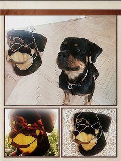 Tiffany, glass, dog, rottweiler, ora