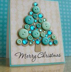 carte de voeux pour Noël - sapin en boutons et strass turquoise