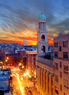 Dusk in Greenwich Village, New York