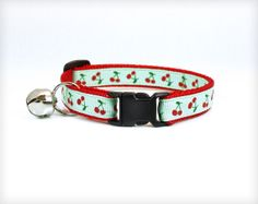 "Cat Collar - ""Cherry Pie"" - Retro Cherry & Mint Pattern on Red by MadeByCleo #madebycleo #catcollar #cat #cute #kitten #petaccessory"