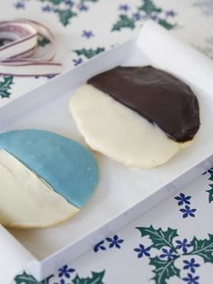 Black-and-White Cookies    Or try Duff's black-and-white cookies — a New York deli classic — in blue and white for Hanukkah.