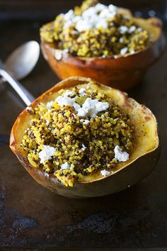 curried quinoa stuffed acorn squash #vegetarian #Thanksgivingrecipes heathersfrenchpress.com