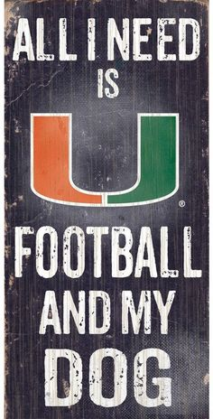 "$14 - NCAA Miami Hurricanes Football & My Dog Sign - Dog and football lovers rejoice, this Miami Hurricanes sign combines the best of both worlds. ""All I Need is Football and My Dog"" text Painted in team colors Distressed look 12"" x 6"" MDF wood Wipe clean Imported Shop our full assortment of Miami Hurricanes items here. When you're a fan, you're family! Size: One Size. Color: Multicolor."