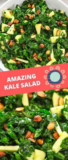 Kale Salad Recipes, Pasta Recipes, Good Healthy Recipes, Vegan Recipes, Yummy Recipes, Spiralizer Recipes, Share Photos, Roasted Almonds, Apple Crisp