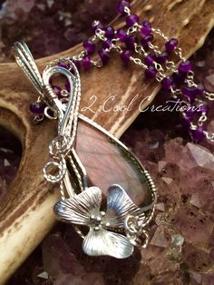 More purple Labradorite with Amethyst  gem chain necklace