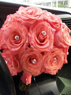 Coral rose bouquet..