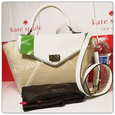 """New Kate Spade fabric leather trapeze Satchel 100% authentic. Natural beige fabric and white leather with 14-karat light gold plated hardware. Flap closure and fabric lining. Handles drop 4.5"""". Longer detachable and adjustable strap. Measures 10""""-13.5"""" (L) x 8.5"""" (H) x 4.5"""" (W). Brand new with tags. Comes from a pet and smoke free home. Kate Spade dustbag and shopping bag included. kate spade Bags Satchels"""