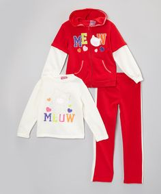 Look what I found on #zulily! Red & Ivory 'Meow' Hoodie Set - Infant, Toddler & Girls by Real Love #zulilyfinds