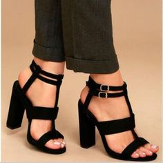 SLHJC 11cm Ultra High Chunky Heel Double Belted Buckle Sexy Women Pumps  Sandals FREE Shipping Worldwide e3e8a7c8195d