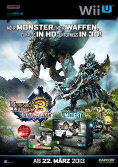 Advert . Pre-Launch . Monster Hunter 3 Ultimate . Wii U, Nintendo 3DS