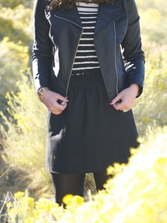 231 leather jacket and stripes.