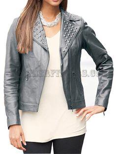 Women Silver Studded leather Biker Jacket
