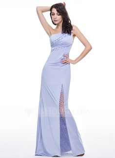 Trumpet/Mermaid One-Shoulder Floor-Length Tulle Jersey Evening Dress With Ruffle Beading (017051412) - JJsHouse