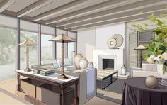Interior. Drawing./ By Gattabianca Design Studio