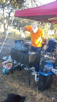 Art adjusting his coals for supper, grilled salmon!!!