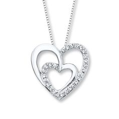 Heart Necklace Lab-Created Sapphires Sterling Silver