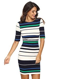 079528ad70 MakeMeChic Women s Striped Half Sleeve Wear To Work Penicl Dress Multicolor  M Material  Polyester. Very stretchy fabric. Brand  MakeMeChic Back zipper  ...