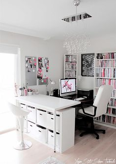 Love this desk with the craft table with the bins, and the bookshelf.