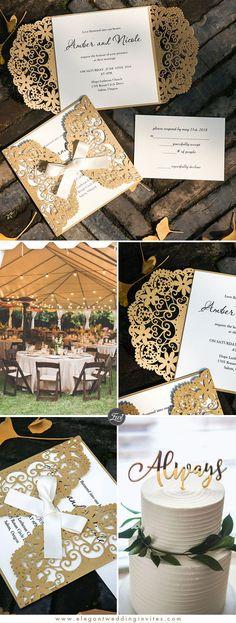 Ivory and Gold Laser Cut Wedding Invitations EWWS221 #LaserCutWeddingInvitations