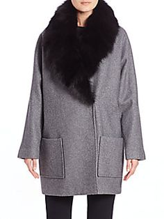 Andrew Marc - Carine Fox Fur-Shawl Coat