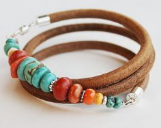 Turquoise Wrap Bracelet - turquoise, coral, spiny oyster and silver, sundance style bracelet - ♥