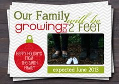 Pregnancy Announcement Photo Card. Christmas/Holiday Our family will be growing by 2 feet. New Baby Announcement. Custom Colors.. $12.00, via Etsy.
