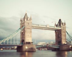 Tower Bridge Photo, London Photograph, England, Muted Colors, Pale, Night, Urban City, Mint Green - Two Towers via Etsy.
