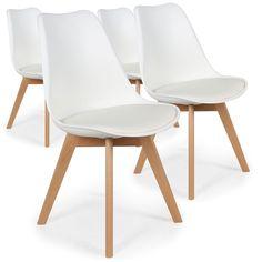 Lot de 4 Chaises Scandinave en bois naturel avec une assise en PU de couleur blanc. Ce lot de 4 chaises modernes sera idéal dans votre salon ou salle à manger. Pieds en bois posés en biais qui leur donnent le look naturel et épuré des meubles nordiques. Dossier en polypropylène Assise en P.U. L 48 x P 43 x H 82 cm - Assise H 46 cm