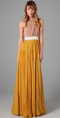 I wish i had legs like this!!    By Malene Birger  Mary Gold Halter Gown