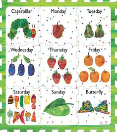 Eric Carle The Very Hungry Caterpillar Days of The Week Play Mat - Dehily Summer Crafts For Toddlers, Toddler Crafts, Preschool Activities, Hungry Caterpillar Classroom, The Very Hungry Caterpillar Activities, Eric Carle, Chenille Affamée, Toddler Teacher, Free Coloring Pages