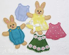 Baby paper doll bunnies made with felt in the hoop! By A Bit of Stitch