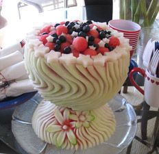 Pretty watermelon fruit basket!