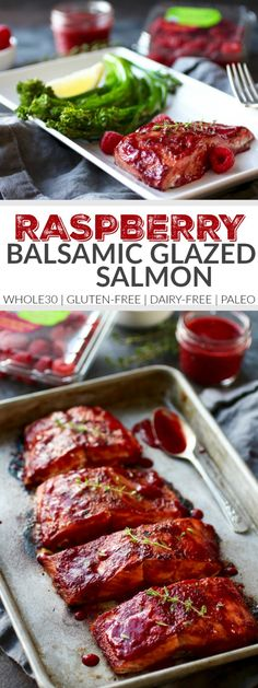 Raspberry Balsamic Glazed Salmon (Whole30) | healthy salmon recipes | Whole30 approved recipes | Whole30 approved dinners | gluten free dinner recipes | dairy free dinner recipes | paleo dinner recipes | how to make homemade salmon | healthy seafood recipes | recipes using fresh raspberries || The Real Food Dietitians | http://therealfoodrds.com/raspberry-balsamic-glazed-salmon-whole30/