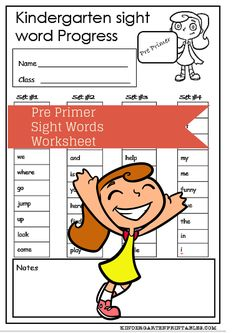 Sight Words List for Kindergarten free to print  pre primer sight words