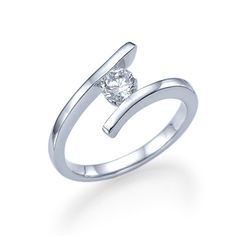 Lilian - Tension Engagement Ring in 14k White Gold (.51 ct t.w) - Express your deepest commitment with this trendy & elegant 14k white gold twist engagement ring design set with a sparkling .51 ct center diamond.