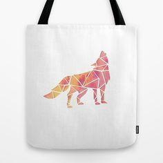 Geometric wolf tote bag