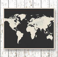 World map Wall art Office art Family Room playroom art Kids wall art Black and white wall art print Home decor