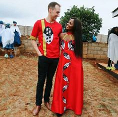 Interracial Couple In Red Swati Emahiya Traditional Outfits Nigerian Traditional Attire, Traditional Wedding Attire, Traditional Outfits, Red Tulle Skirt, South African Weddings, African Wedding Dress, Mermaid Skirt, Interracial Couples, Flare Dress
