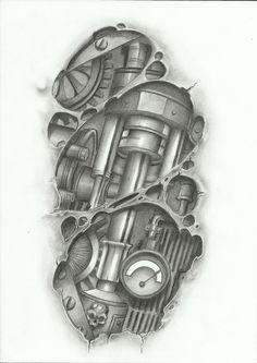 จักรกลpistons1 Piston Tattoo, Biomech Tattoo, Cyborg Tattoo, Biomechanical Tattoo Design, Robot Tattoo, Gear Tattoo, 4 Tattoo, Tattoo Outline, Cover Tattoo