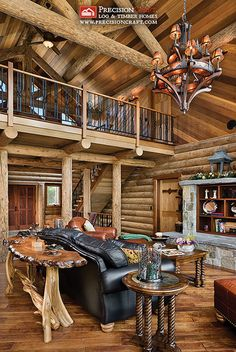 Log Home Great Room & Loft + Wicked furniture and lights!!!