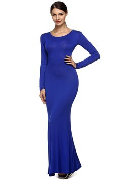 Blue Women Fashion Sexy Backless Back Open Cutout O-neck Long Party Ball Evening Dresses