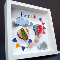 Personalized Name Paper Origami Shadowbox Frame with Hot Air Balloons and Clouds Custom Art Newborn Baby Shower Nursery Wall Art Gift by paintandpapercraft on Etsy
