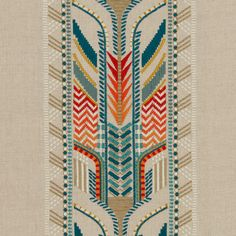 A delightful detailed tribal design embroidered onto a neutral beige linen. Threads in refreshing colours including teal, white, crimson and orange adorn the fabric in a modern, large scale, tribal pattern. GP & J Baker Trebizond Fabric. East to West Collection Autumn 2017