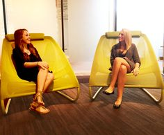 Life can't be all work and no play. The perfect way to relax is by taking a seat in our Fit chairs, which a couple of our interns did in the Jasper showroom.