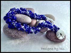 Handmade Blue Beadwork bracelet with button by DesignsbyIsisUK, £10.00